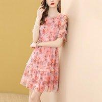 Мода розовый печатный короткометражный рукавное вечеринка платье A-Line летнее плисси прохладный шифон высокая талия свободные повседневные платья