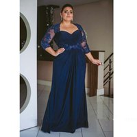 Plus Size Mother of the Bride Dresses for Wedding Party Dark Navy Blue Lace Chiffon Column Floor Length Women Formal Evening Gowns Custom Made