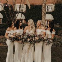 Ivory Bridesmaid Dresses Plus Size 2021 Sheath Off the Shoulder Floor Length Custom Made Maid of Honor Gown Country Wedding Party Wear vestidos