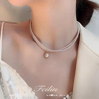 Chokers Beaded Women's Necklace Pearl Gold Gothic Jewelry Pendant 2021 Girl
