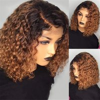 4x4 Curly Lace Closure Human Hair Wigs For Black Women Remy Brazilian Short Bob Wig Ombre 1B 27 Honey Blonde Front Plucked With Natural Hairline Full Even End 12 Inches
