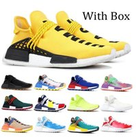 Con caja de zapatos Venta al por mayor NMD Raza Humana Hombres Mujeres Running Shoes Pharrell Williams Hu Blanco Negro Negro Amarillo Gris Zapatillas deportivas
