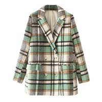 Plaid Overshirt Double Breasted Jacket With Buttons Checked Turn-Down Collar Shirt Demi-Season Warm Coat Ladies Pocket Patchwork Women's Jac