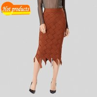 Skirts You all charter free chic brown plaid skirt braided celebrity design party bandage at knee height 693K