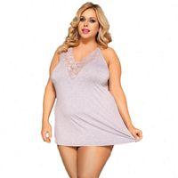 Lingerie Nightwear Cotton Sexy Sleeping Women Sleepwear Wear Backless V Neck Solid Mini Nightdress Plus Size Nighties For R80729