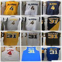 NCAA College Victor 4 Oladipo Jersey Blau Weiß Gelb Großhandel Billig Herren Retro Vintage Reggie 31 Miller University Basketball Trikots