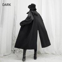 Women's Trench Coats [DARK] Yamamoto 2021 Japanese Niche Design Dark Black Back Slit Loose Long Coat