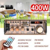 2021 NUOVO 12 V / 220 V 2CH Display LCD Digitale HiFi Audio Amplificatore di potenza stereo Bluetooth FM Radio Automobile Casa con telecomando