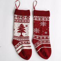 Snowflake Knitting Christmas Stocking 46cm Gift Stockings Christmas-Tree Holiday Stocks Indoor Decoration DWF8953