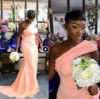 20201 Последние одно плечо русалка невесты платья платья складки сад страны женщины свадебные гостевые вечеринки платья майф честь платье плюс размер дешевый