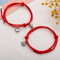 Lucky Rope Couple Bracelet Red Black String Knot Braided Magnetic Buckle Love Heart Charm Bracelets Friendship Jewelry Gift