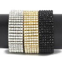 "Men Hip Hop 6 Row Gold Silver Tone CZ Iced Out Bling Bling Tenns Bracelet 8""inch 25mm Simulate Dimonds Bangles Braceles dff3449"