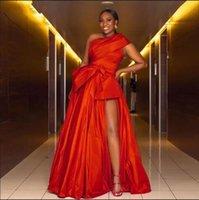 Red A Line Evening Dresses for Women One Shoulder High Side Split Floor Length Bow Long Formal Prom Party Gowns Celebrity Dress vestidos de fiesta
