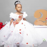 Princess White Lace Crystals Flower Girl's Dresses Spaghetti Ball Gown Tulle Little Girl Wedding Communion Pageant Party Gowns