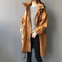 Autumn Fashion Hooded Trench Women Vintage Oversize Windbreaker Spring Streetwear Casual Outerwear LM921 Women's Coats