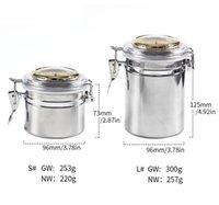 加湿器パイプその他の喫煙アクセサリーウールステンレス鋼銀透明カバーサーモメーター水分防止シガーロールモイスチャライザーガスケットフリップトップ