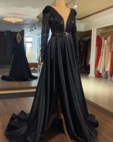2021 Aso Ebi Black Evening Dresses Stunning V-neck Long Sleeves Sparkly Sequin Top Satin A-line Arabic Style Party Formal Gowns