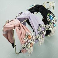 Fashion Women's Hairband Fringed Pearls Rhinestone Flowe Deedband Cross Knot Headwear Accesorios para el cabello
