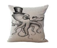 TAPID Octopus Kissenbezug Simple Dicke Baumwolle Leinen Sofa Kissenbezug Skandinavien Square Throw Kissenbezüge für Schlafzimmer 45 cm * 45 cm 377 R2