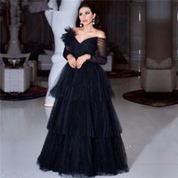 Black Muslim Evening Dresses 2022 A-line V-neck Long Sleeves Tulle Tiered Dubai Saudi Arabic Prom Gowns Vestidos Formales