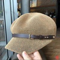 Summer Sun Hat Female Casual Octagonal Breathable Hollow Belt Buckle Duck Tongue Beach Straw Wide Brim Hats