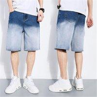 رجل سستة مستقيم جينز مصمم ذكر فضفاض مرونة عارضة الدنيم الزرقاء السراويل رقيقة الركبة طول الأزياء الاتجاه منتصف الخصر خمس نقاط جان