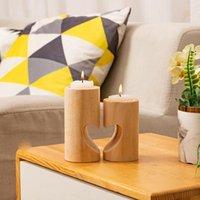 Porte-bougie de thé en bois Courbon Creative Cœur Couvre-bouge de chandelier de table romantique Décoration de table romantique pour la maison d'anniversaire de la maison BWF10718