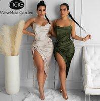Dantelli Saten Yaz Elbise İpli Spagetti Sapanlar Kukuleta Boyun Backless Uzun Elbiseler Kadınlar Için Parti Seksi 2021