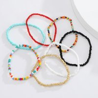 Anklets Bohemian Colorful Beads For Women Handmade Elasticity Foot Jewelry Summer Beach Barefoot Bracelet Ankle On Leg 2021