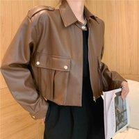Women's Leather & Faux JMPRS Women Crop Jacket Autumn Fashion Motorcycle Biker PU Coat Loose Long Sleeve Black Chic Korean Female Clothes