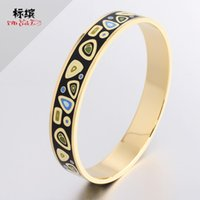 Enamel stainless steel bracelet jewelry, painted electroplated real gold jewelry5D41
