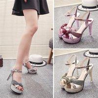 Sandals 2021 Plus Big Size 34-39 Pink Gold Silver Sexy Party Wedding 12CM High Heel Platform Summer Lady Women A798