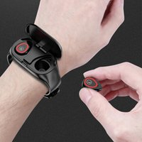 Headphones & Earphones ZUTA 2 In 1 Smart Watch With Earphone Wireless Bluetooth Handsfree Earbuds Headset Fitness Tracker Wristband Couple B