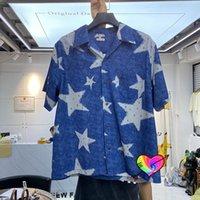 Koszule 2021 Mężczyźni Kobiety Wysokiej Jakości Full Stars Graphical Print Shirt Oversize Blue Bluzki