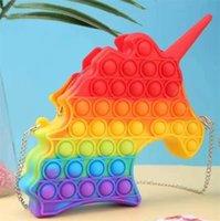 Silicone Rainbow Push Its Pops Bubble Fidget Toys Popper Zero Wallet Handbag Unicorn Crossbody Bag Finger Simple Dimple Bubbles Fashion Waist Bags