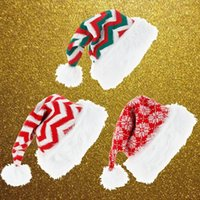 Christmas Decorations Knitted Woolen Hat High-end Plush Striped Santa Claus Cap Holiday High Quality Free Ship