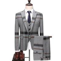 (Jackets+Vest+Pants) 2021 Clothing Men Pure Cotton Plaid Business Blazers Male Slim Fashion Male Groom Dress Three-piece Suit Men's Suits &