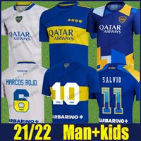 Camiseta Boca Juniors Jerseys de fútbol 2021/22 Pavon Tevez Carlitos Maradona Camisetas de fútbol de Rossi Marcos Rojo Salvio Jersey Villa Varela Cabj Man Kit Kids 21/22 Top