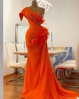 Feather Orange Mermaid Evening Dresses One Shoulder Lace Appliques Prom Gown Custom Made Formal Party Floor Length Vestido de novia