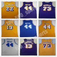 Erkekler Vintage Basketbol Wilt Chamberlain Jersey 13 Dennis Rodman 73 Jerry West 44 Elgin Baylor 22 Dikişli
