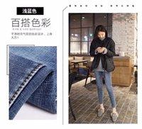 Jeans di alta qualità Primavera e autunno Capris Donne Slim Slim Blue leggings