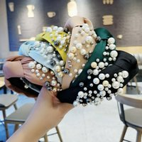 Fashion Women Hair Accessories Wide Side Headband Mix Pearls Baroque Hairband For Adult Center Knot Headwear Wholesale