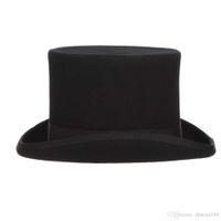 2020 أفضل gemvie 13.5 سنتيمتر 100٪ الصوف فيلت أعلى قبعة للرجال فيدورا للنساء جنون hatter حلي اسطوانة قبعة الرجل ديربي قبعة الساحر