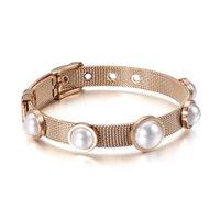 Women's Fashionable Bracelets Shell Beads Design Elegant Stainless Steel Charm Strap Buckle Bracelet Gift For Female