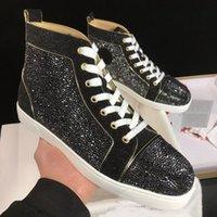 ZapatosLouboutinClcristianoZapatillas de patineta Top Luxury Strass !! Zapatillas de deporte del fondo rojo de alto corte de los hombres caminando pareja fuera AWG