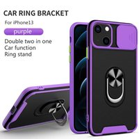 Slide Window Phone cases For iPhone 13 12 11 Samsung S21 A82 A72 A52 A32 Camera Protection Ring Holder kickstand Shockproof Protective Cover case