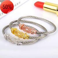 Stainless Steel Bracelet Cord Screw Cuff Bracelets Buckle Cable Wire Twist Bangles Hooves Wristband Bijoux Jewelry Y1218