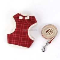 Soft Adjustable Bow Knot Waistcoat Harness Leash Set Spot Stripe Check spot Print Dog Collar Rope Pet Dog Supplies Will and Sandy