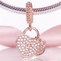 New Arrivel 2020 Autumn Rose Gold Collection S925 Love Locks Pendant Charm Fit European Pandora Snake Bracelet Jewelry 781807CZ charm