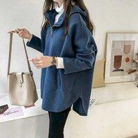 Women's Hoodies & Sweatshirts Casaco de lã feminino, jaqueta estilo outono inverno, com capuz, roupas tamanho gran, folgado, gran,